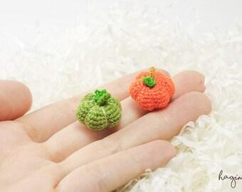 Extreme Micro Orange Pumpkin - Tiny Amigurumi Miniature Pumpkin – Crochet Pumpkin – Made To Order