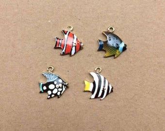 Fish Charm, 10PCS, 16*17MM, Enamel Charm, Tropical Fish Charm, Sea Charm, Jewelry Suppplies, DIY Charms, 4 Styles