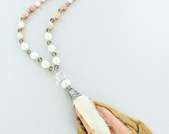 Rose Quartz and Pearl Bead Necklace with Fabric Tassel Pendant