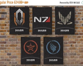ON SALE Mass Effect Video Game Posters -  Set of 5 Prints - Cerberus, N7, Spectre, Renegade & Paragon