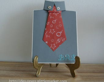 Birthday card - father's day-red tie