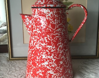 Red Speckled Enamelware Coffee Pot FRENCH COUNTRY FARMHOUSE