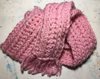 Upcycled Cotton Candy Crochet Scarf