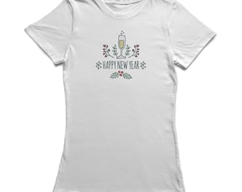 Happy New Year Champagne Glass And Snowflakes  Women's White T-shirt