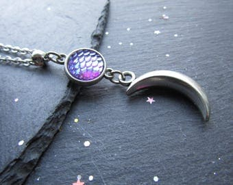Neptune and Moon Crescent Necklace, Moon Crescent Necklace, Moon Jewellery, Galaxy Necklace, Cosmos Necklace, Moon Pendant, Silver Moon
