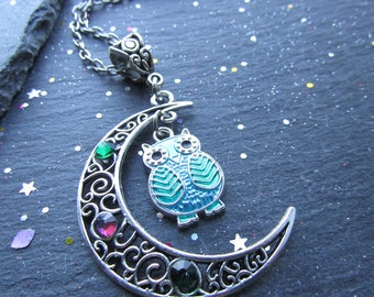 Owl and Moon Crescent Necklace with Crystals, Owl Necklace, Moon Necklace, Blue Owl Necklace, Owl Jewellery, Moon Crescent, Gift Owl Lover