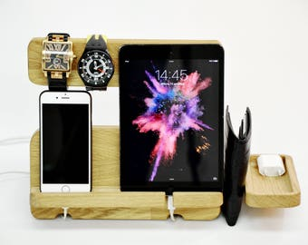 SALE !!! Father's Day docking station, Gift for Man, stand iPad, Desk organizer, iPhone 5,6,7 dock, Gear for iPad, iPhone, Docking Desk