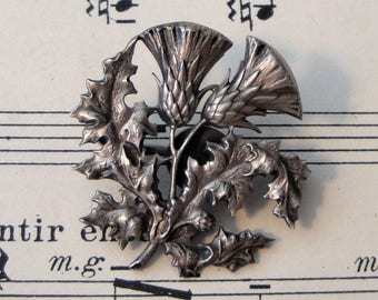 Antique French Art Nouveau Thistle Pin / Brooch c1920