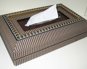 Tissue Box, hand made, decorative, stylish, geometric pattern, great for any room, African motif, striking, dramatic, unusual, impressive
