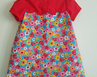 Children's 4T dress - flower and cherry print;  vintage inspired