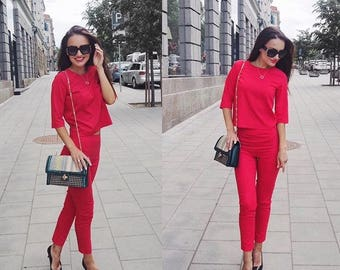 Two piece pants set for women, High waist trousers cropped, Red cigarette pants, Matching top and bottom, Pants suit woman, Valentine's day