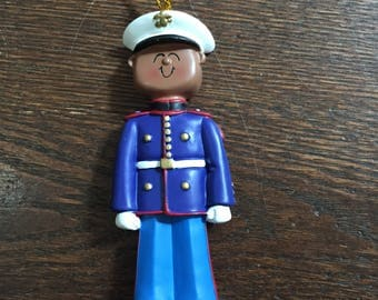 personalized African American Marine Christmas ornament