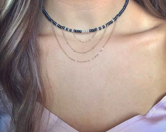 Chain Dangle Choker with Royal Blue and Gold Beads