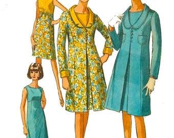 "Vintage 1960's Sewing Pattern Mod Empire Waist Sleeveless Sheath Dress & Coat Bust 32"""