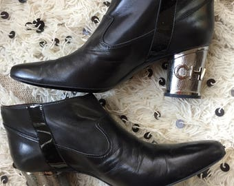 Vintage 90's CHANEL Black Leather and Metal Name Plate Boots Booties Heels 41 10