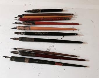 Antique Lot of Calligraphy Pens Instant Collection