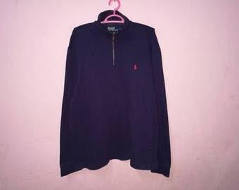 Rare!! Vintage Polo Ralph Lauren Small Pony Half Zipper Sweatshirt