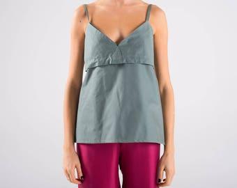 Top, CAMI, elastic cotton, grey green