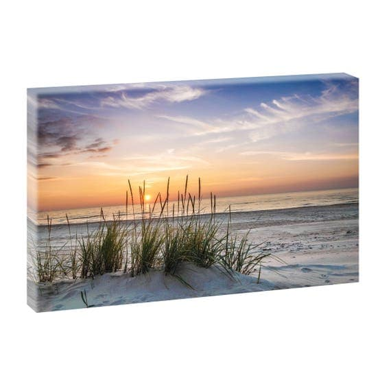 sonnenuntergang strand bild meer keilrahmen leinwand poster. Black Bedroom Furniture Sets. Home Design Ideas