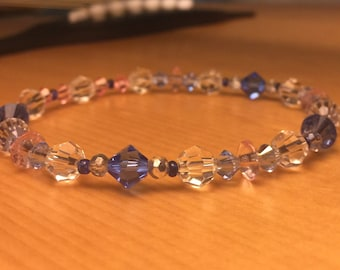 Crystal Bracelet, Pink, Blue, Clear