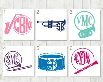 Band Monogram Decal, Music Monogram, Gift for Band Leader, Marching Band Decal, Music Teacher Gift, Drum Monogram, Trumpet Monogram Decal