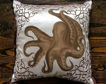 """Brown Octopus- by Lynn Cegelski, An original 13"""" x 13"""" hand painted decorative pillow"""
