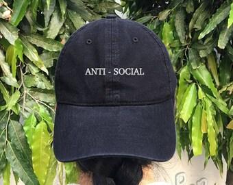 Anti - Social Embroidered Denim Baseball Cap Black Cotton Hat Hipster Unisex Size Cap Tumblr Pinterest