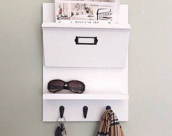Entryway Organizer for mail, Mail Organizer, Hanging Mail Organizer Wall, Office Decor, Command Center, Mail Holder, Mail Sorter,  Coat Rack