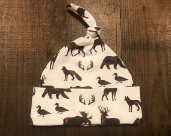 Baby Hat - Single Knot - Woodland Animals in Brown - Cotton Spandex Jersey - Newborn Baby - 0 to 3 months