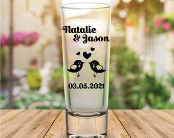 Custom Personalized Love Birds Tall Wedding Favor Shot Glasses