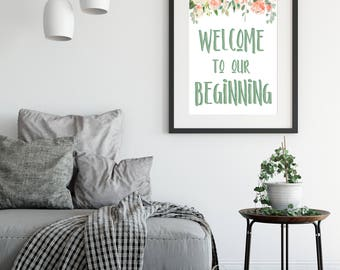 Welcome to our beginning home decor printable, newlywed printable, wedding printable, wedding decor, couples, newlyweds, housewarming gift
