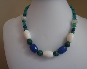 Green Banded Agate Blue Jade and White Sponge Coral Necklace