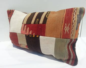 Colorful Vintage Kilim Pillow Lumbar, Handwoven Decorative Turkish Kilim Pillow Lumbar 16x24 inches