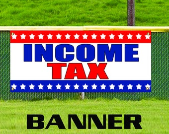 Income Tax Advertising Vinyl Banner Business Sign Stars Tax Returns Accountant