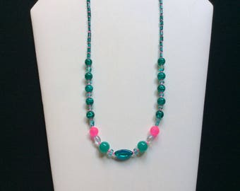 Teal and pink bead necklace
