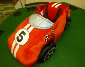 Children's Wearable Velour Plush Red No5 Racing with flames - Car Costume - Like New by I Want To Be