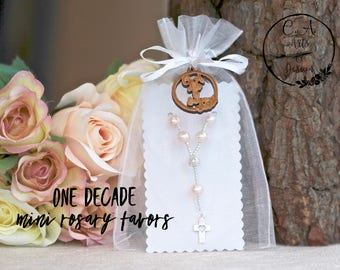 First Communion Favors, Baptism Favors, Confirmation Favors, Christening Favors, One Decade Mini Rosary Beads, Prayer Beads.