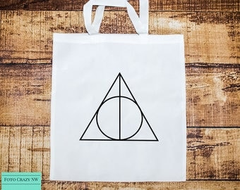 Harry Potter Inspired Tote Bag | Deathly Hallows | Symbol | Wand | Resurrection Stone | Invisibility Cloak