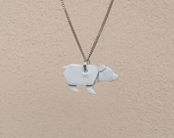 Handmade origami bear necklace