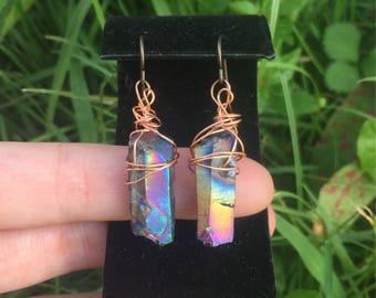 Titanium rainbow aura quartz earrings