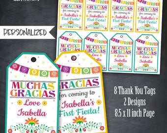 Fiesta Thank You Tags, Fiesta Tags, Fiesta Party, Fiesta Favors, Papel Picado, Colorful Thank You Tags, Personalized, Printables, Digital