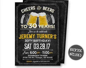 Cheers and Beers Invitation, Cheers and Beers Birthday, Beer Invitations, Milestone, Party, Personalized, Birthday Party, Printable, Digital