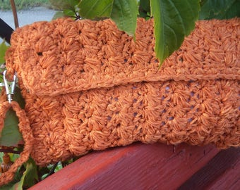 Orange Clutch - Orange Handbag - Evening Orange Bag - Crochet Yellow Handbag - Orange Wallet - Orange Purse -Crochet Clutch -Designer Clutch