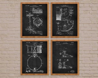 Vintage Drum Set Of 4 Prints, Drummer Gift, Cymbal, Music Print, Drum Decor, Gift for Drummer, Drum Patent, Drum Poster, Cymbal Poster