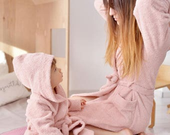 Mother and Daugther matching hooded towelling dressing gowns bathrobes chest embroidery, salmon rose