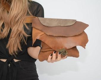 Brown Leather Crossbody Bag, Gray Leather Bag, OOAK Over The Shoulder Bag, Soft Leather Handbag, Tribal Bags For Women, Boho Crossbody Bag