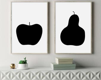 Apple and Pear, Scandinavian Apple, Scandinavian Print, Nordic Decor, Minimalist Wall Art, Nordic, Affiche Scandinave, Black and White