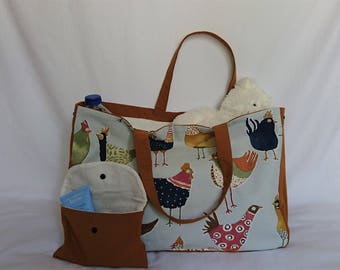 tote bag / diaper bag and pouch beige and camel patterns chickens