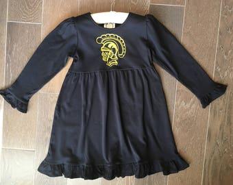 Long Sleeve Ruffle Carrollton Trojan Dress