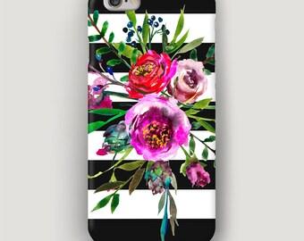 Floral iPhone 7 Case, Watercolor iPhone 6 Plus Case, Stripes iPhone 5S Case, iPhone 6S Cover, Flowers Case iPhone, iPhone 5 Phone Case